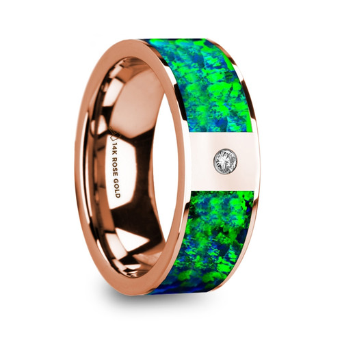 Nikophon Men's 14k Rose Gold with Green & Blue Opal Inlay Wedding Band & Diamond