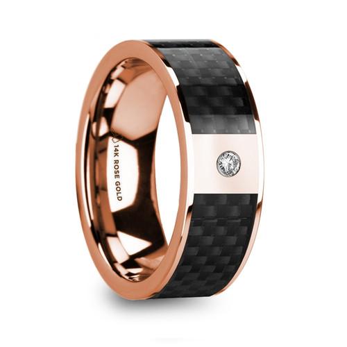 Khakare 14k Rose Gold Wedding Band with Black Carbon Fiber Inlay & Diamond Accent