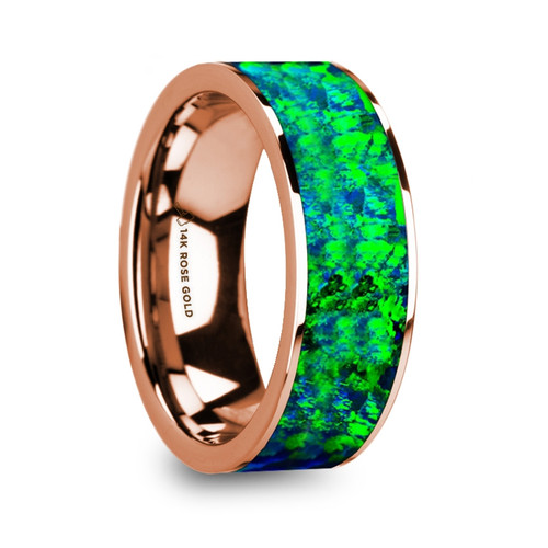 Cleph Men's 14k Rose Gold Wedding Band with Green & Blue Opal Inlay