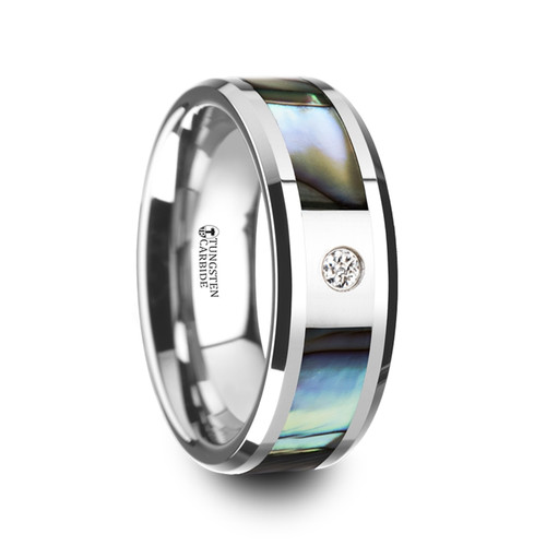 Mutasiva Tungsten Carbide Wedding Band with Mother of Pearl Inlay & White Diamond