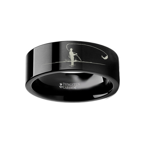 Andrew Landscape Scene with Fishermen Engraved Black Tungsten Wedding Band