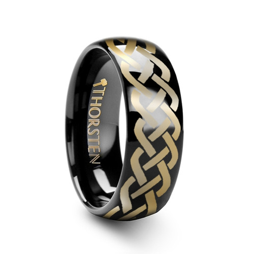 Basiliscus Domed Black Tungsten Wedding Band with Celtic Knot Design
