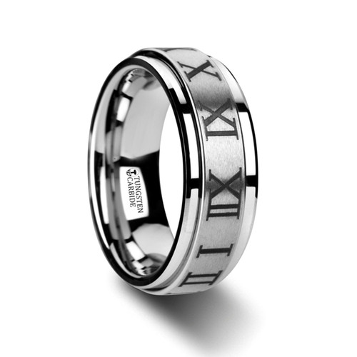 Matthew Raised Center Brushed Tungsten Spinning Wedding Band with Roman Numerals