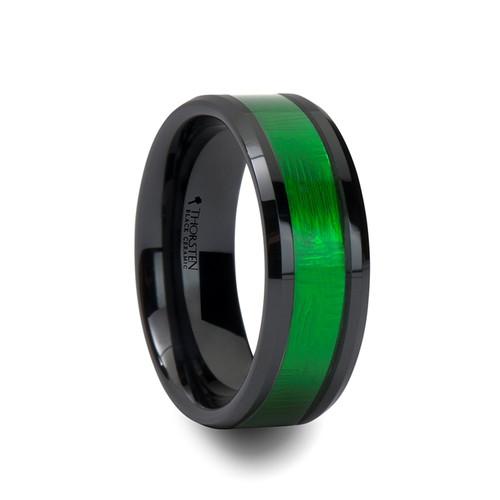Hetepibre Black Ceramic Wedding Band with Green Inlay