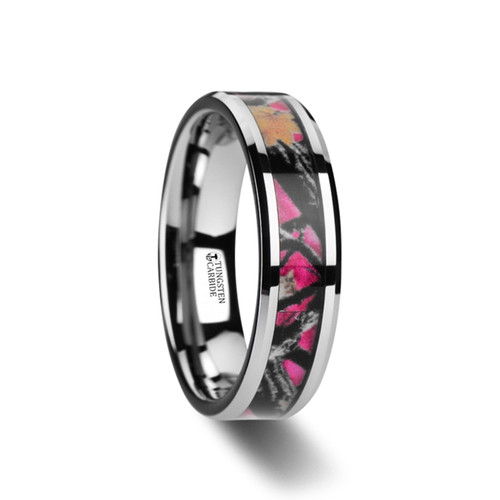 Etuta Realistic Tree Camouflage Tungsten Carbide Women's Wedding Band with Real Pink Oak Leaves