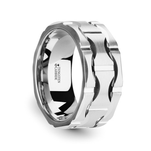 Arist Brushed Tungsten Carbide Wedding Band with Crescent Pattern