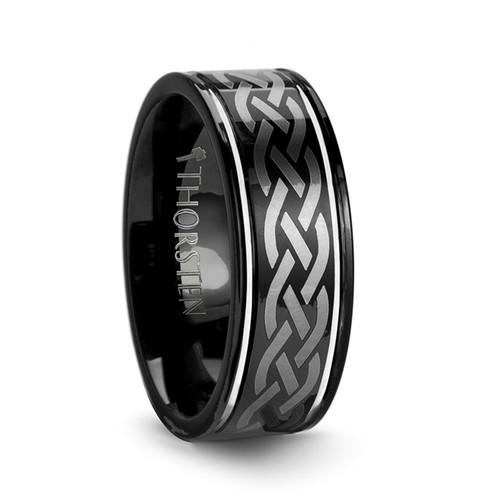 Nicodemus Black Tungsten Carbide Men's Wedding Band with Celtic Design