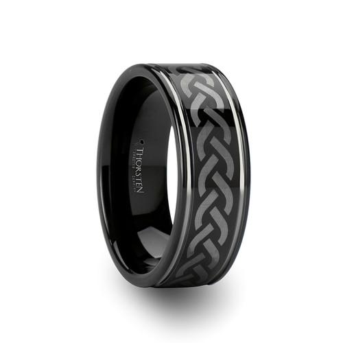 Orso Celtic Pattern Black Tungsten Carbide Wedding Band