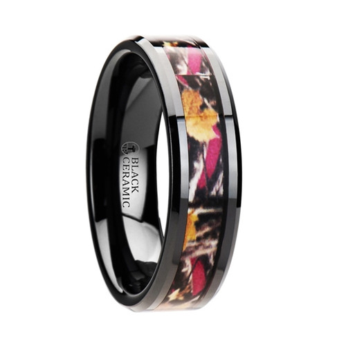 Amelia Realistic Tree Camouflage Black Ceramic Women's Wedding Band with Real Pink Oak Leaves