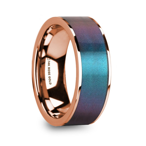Napoleon 14k Rose Gold Men's Wedding Band with Blue & Purple Color Changing Inlay