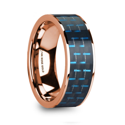 Coroebus 14k Rose Gold Men's Wedding Band with Black & Blue Carbon Fiber Inlay