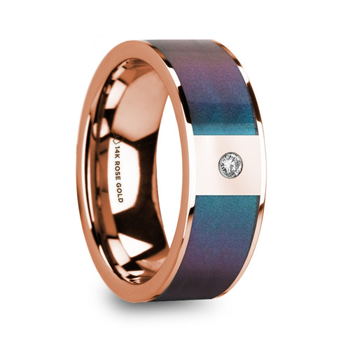 Didas 14k Rose Gold Men's Wedding Band with Blue & Purple Color Changing Inlay and Diamond