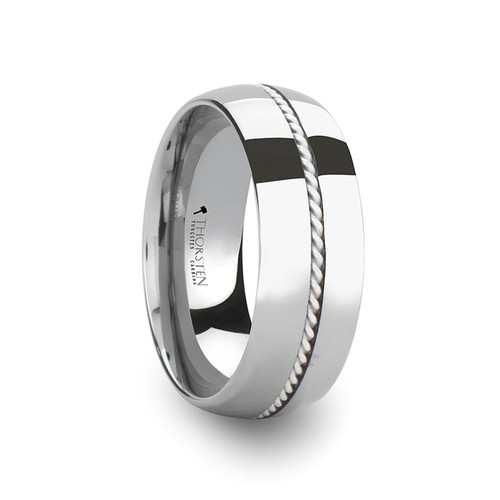 Koinos Domed Tungsten Carbide Wedding Band with Braided Silver Inlay