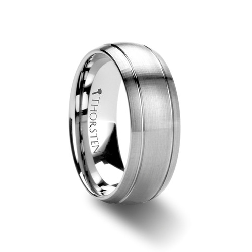 Ludwig Brushed Domed Tungsten Carbide Wedding Band with Dual Grooves