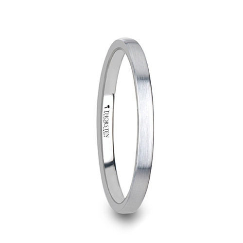 Margery Women's Brushed White Tungsten Carbide Wedding Band