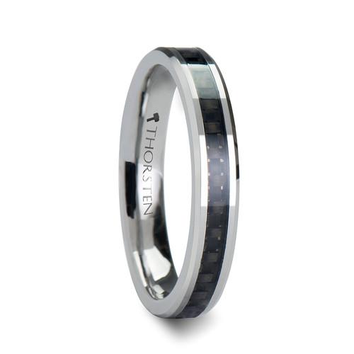 Elizabeth Tungsten Carbide Women's Wedding Band with Black Carbon Fiber Inlay