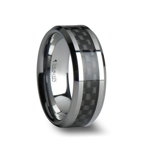Alix Tungsten Carbide Wedding Band with Black Carbon Fiber Inlay