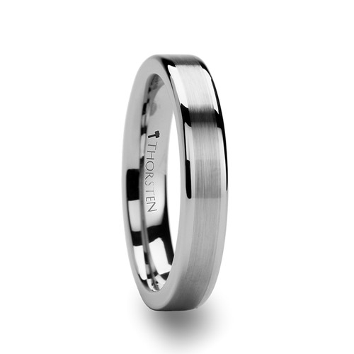 Margaret Tungsten Women's Wedding Band with Brushed Center