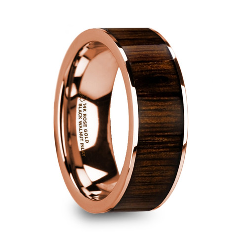 Antipatros 14k Rose Gold Men's Wedding Band with Black Walnut Wood Inlay