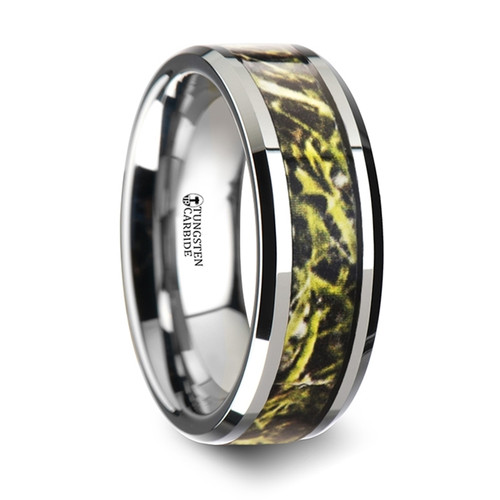 Diocletian Tungsten Carbide Wedding Band with Green Marsh Camouflage Inlay
