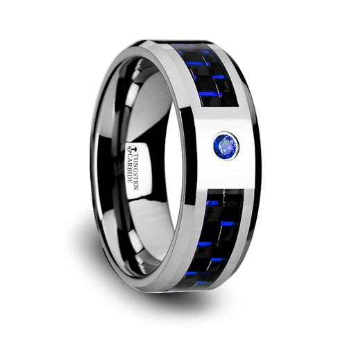 Ankylos Tungsten Carbide Men's Wedding Band with Black & Blue Carbon Fiber and Blue Diamond