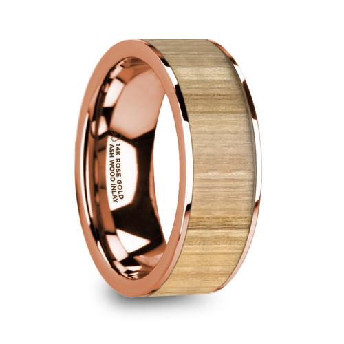 Eubulos 14k Rose Gold Wedding Band with Ash Wood Inlay