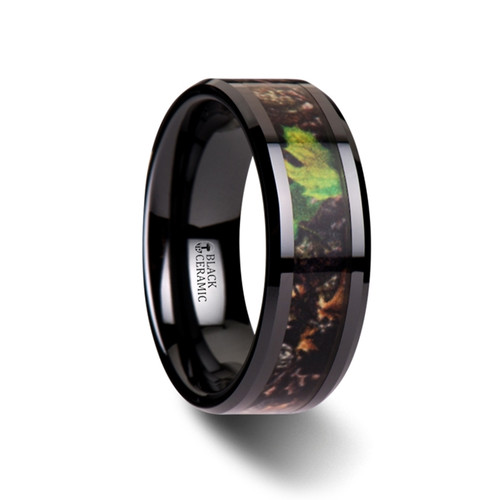 Valens Realistic Tree Camouflage Black Ceramic Wedding Band with Green Leaves