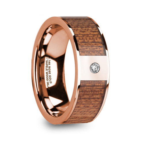 Bartolomeo 14k Rose Gold Men's Wedding Band with Sapele Wood Inlay & Diamond