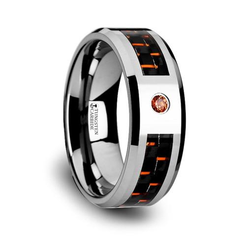 Eucrates Tungsten Men's Wedding Band with Black & Orange Carbon Fiber and Orange Padparadscha