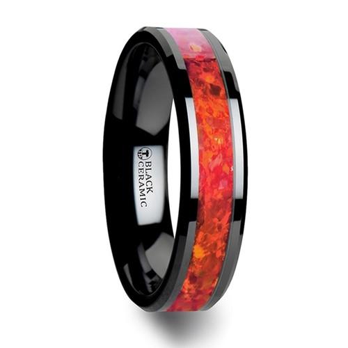 Berengar Black Ceramic Wedding Band with Red Opal Inlay