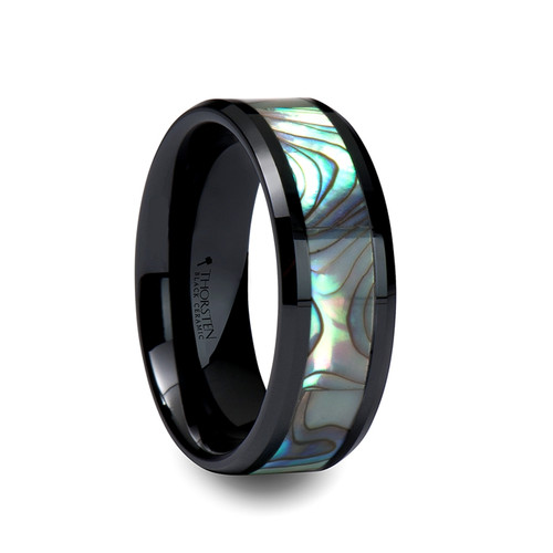 Nerva Black Ceramic Wedding Band with Shell Inlay