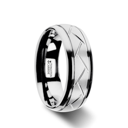 Avitus Domed Brushed Tungsten Carbide Men's Wedding Band with Crisscross Grooves