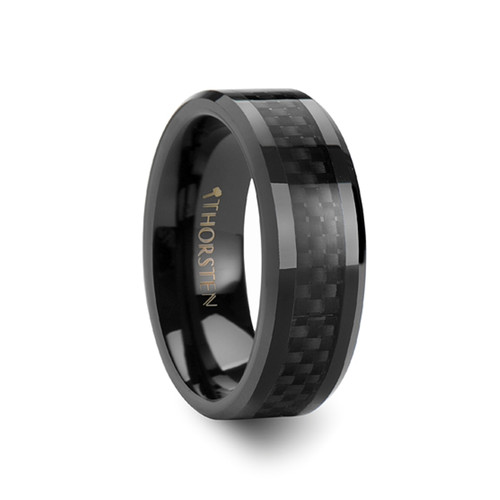 Charinos Black Ceramic Wedding Band with Black Carbon Fiber Inlay