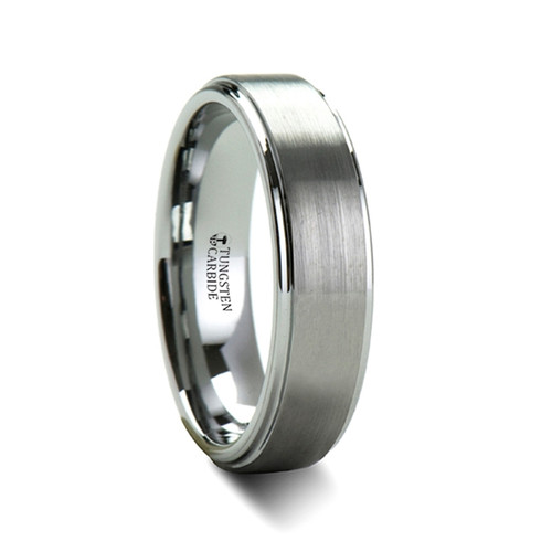 Lysiades Brush Tungsten Carbide Wedding Band with Raised Center