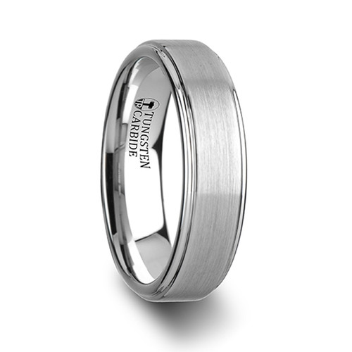 Oluf White Tungsten Carbide Wedding Band with Raised Brushed Center