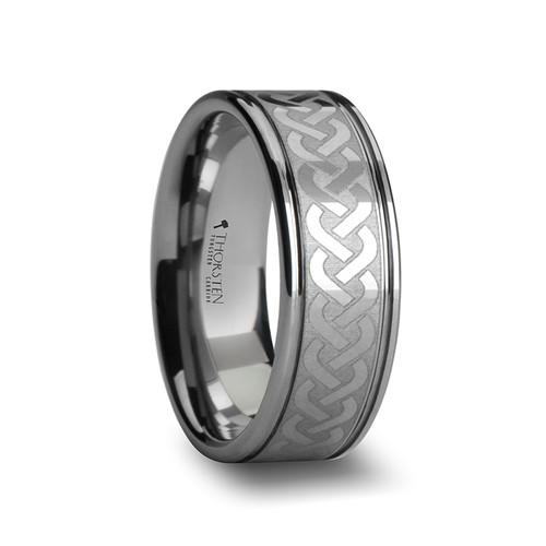 Andriscus Tungsten Carbide Wedding Band with Celtic Knot Pattern