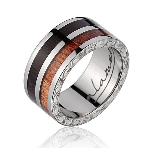 Macassar Ebony & Koa Wood Inlaid Men's Wedding Band with Titanium Scroll