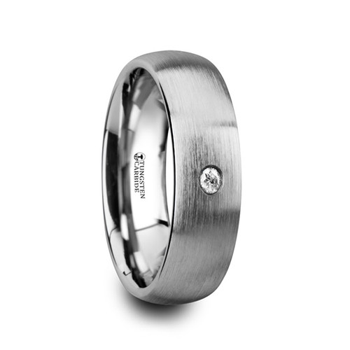 Megacles Brushed Domed Tungsten Carbide Wedding Band with White Diamond