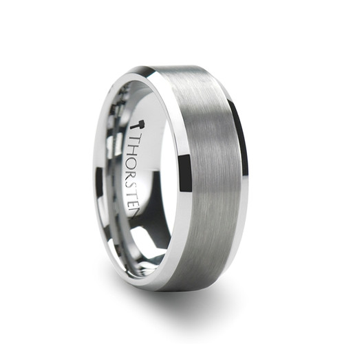 Adelaide White Tungsten Carbide Wedding Band with Brushed Center