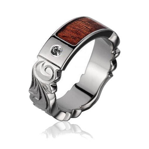 Men's Diamond Titanium Wedding Band with Koa Wood Inlay