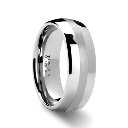 Niccolo Domed Platinum Inlay Tungsten Carbide Wedding Band