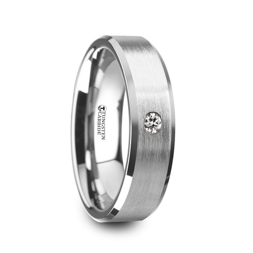 Diomedon Brushed Tungsten Carbide Wedding Band with White Diamond