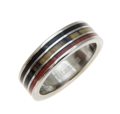 Ebony, Cocobolo & Pink Ivory Wood Inlaid Men's Titanium Wedding Band