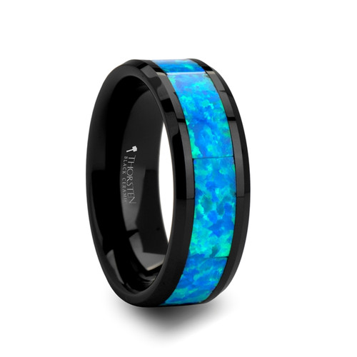 Aristeius Blue & Green Opal Inlay Black Ceramic Wedding Band