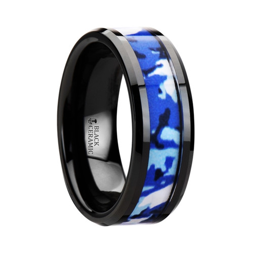 Penda Black Ceramic Wedding Band with Blue & White Camouflage Inlay