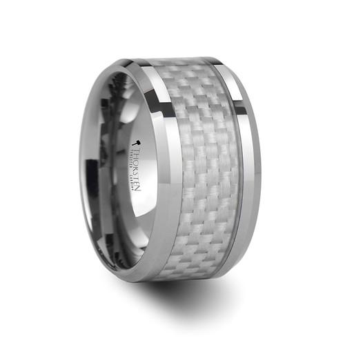 Horus Tungsten Carbide Men's Wedding Band with White Carbon Fiber Inlay