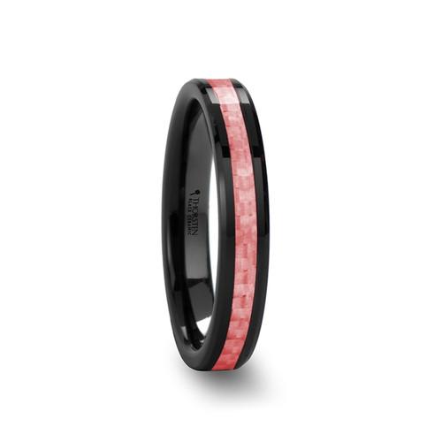 Genne Black Ceramic Women's Wedding Band with Pink Carbon Fiber Inlay