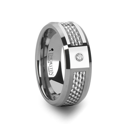 Apseudes Tungsten Carbide Men's Wedding Band with White Carbon Fiber Inlay & White Diamond