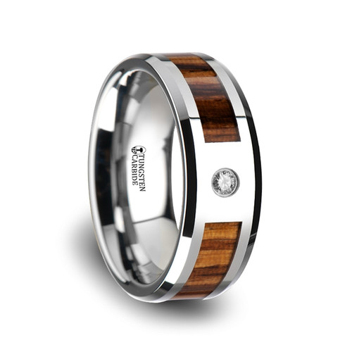 Leonardo Tungsten Carbide Men's Wedding Band with Real Zebra Wood Inlay & Diamond