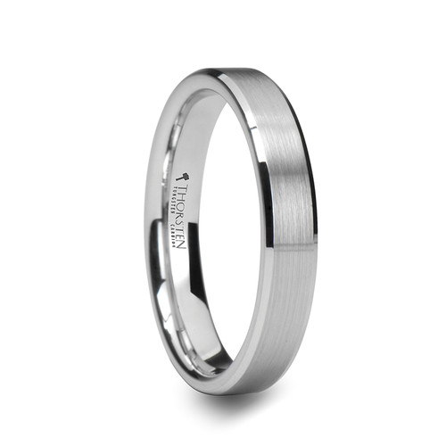 Claudine White Tungsten Carbide Women's Wedding Band with Brushed Center